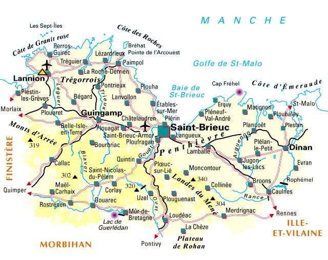 Côtes d armor région • Voyages  Cartes